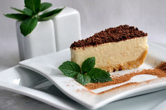 Cheesecake slice on a white plate Stock Photo