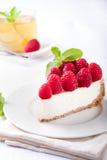 Cheesecake Slice With Fresh Raspberry Stock Image