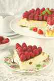 Cheesecake, souffle, cream mousse, pudding dessert with fresh raspberries and mint leaves on a white plate. Toned Royalty Free Stock Image
