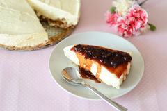 Cheesecake. With sour cherry topping Stock Photos