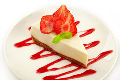Cheesecake with strawberries Stock Images