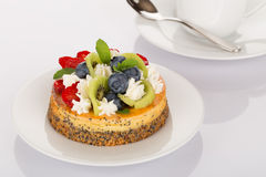 Cheesecake, strawberries, blueberries and kiwi Royalty Free Stock Photography