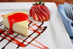 Cheesecake and strawberry Stock Image
