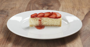 Cheesecake with strawberry on plate Stock Images