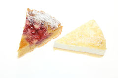 Cheesecake and tartin a white background Stock Image