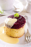 Cheesecake with Vanilla Sauce Royalty Free Stock Photo