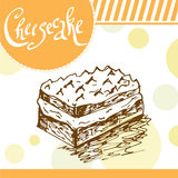 Cheesecake vector illustration. Bakery design. Beautiful card with decorative typography element. Cheesecake icon for poster Stock Photos