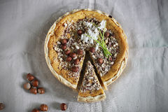 Cheesecake with white chocolate and hazelnuts Stock Images