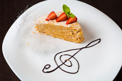 Cheesecake on white plate Stock Photo