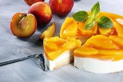 Free Cheesecake With Peache. Homemade Cream Cake With Peaches Stock Image - 122835521