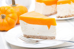Cheesecake With Pumpkin Jelly Stock Image