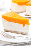 Cheesecake With Pumpkin Jelly, Close-up Royalty Free Stock Photos