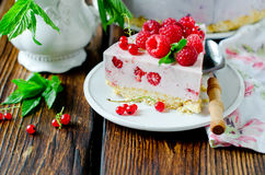 Free Cheesecake With Raspberries Stock Photo - 76920130