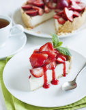 Cheesecake With Strawberries Stock Photos