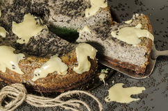 Cheesecake z czarnymi sezamowymi ziarnami na Halloween Fotografia Stock