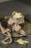 Cheesecake z czarnymi sezamowymi ziarnami na Halloween Obraz Royalty Free