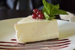 Cheesecake z czerwonymi rodzynkami Zdjęcia Royalty Free
