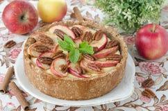 Cheesecake z jabłkami i karmelizującymi pecans Zdjęcia Stock