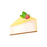 Cheesecake z malinką na białym tle ilustracji