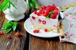 Cheesecake z malinkami zdjęcie stock