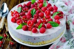 Cheesecake z malinkami fotografia royalty free