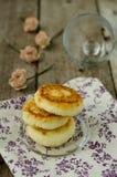 Cheesecakes. On a beautiful napkin Stock Image