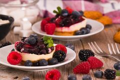 Cheesecakes with mixed berries. Cheesecakes with mixed berries on white dish royalty free stock photography