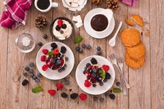 Cheesecakes with mixed berries. Cheesecakes with mixed berries on white dish stock image