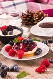 Cheesecakes with mixed berries. Cheesecakes with mixed berries on white dish stock photos
