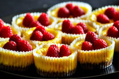 Cheesecakes with vanilla filling and raspberries Royalty Free Stock Photography