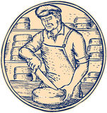 Cheesemaker Cutting Cheddar Cheese Etching Stock Photos