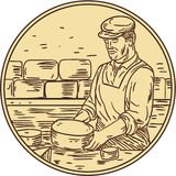 Cheesemaker Making Cheddar Cheese Circle Drawing Stock Images