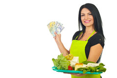 Cheesemaker offering cheese to low price Royalty Free Stock Images