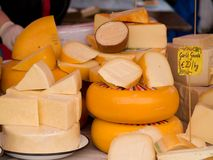 Cheeses. Produce at farmers market Royalty Free Stock Images