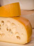 Cheeses. Produce at farmers market Stock Images