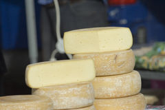 Cheeses. Produce at farmers market Stock Image