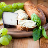 Cheeses with baguette,grapes and herbs. Still life with spanish and french cheese,baguette,grapes and fresh herbs Stock Photography