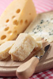 Cheeses on a cheese board Royalty Free Stock Photos