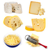 Cheeses Collection. Collection of cheeses, isolated on white Stock Image