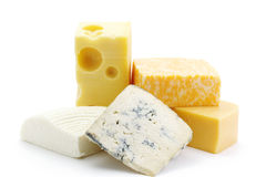 Cheeses of five grades Royalty Free Stock Photos