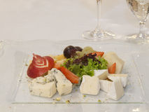 Cheeses with fruits Royalty Free Stock Photography