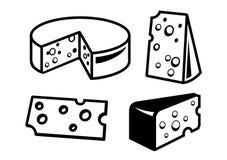 Cheeses icon. Vector black cheeses icon on white background Stock Photos