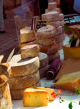 Cheeses on the market. Assorted cheeses for sale on french farmers market in Perigueux, France Royalty Free Stock Photography