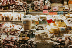 Cheeses, meats and other typical products from Italy. Stock Photo