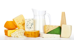 Cheeses with milk Stock Photos