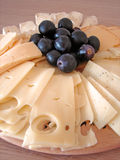 Cheeses plate. Plate with all kind of cheeses Stock Photo