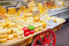 Cheeses shop Stock Images