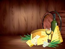 Cheeses and wine on dark wooden background  Stock Images