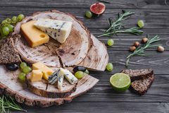 Cheeses on wood Royalty Free Stock Photo