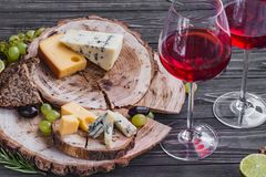 Cheeses on wood Stock Photo